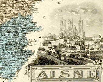 Antique Map of Aisne, France - 1883 Illustrated Map - Hand-Coloured - Vintage Map - Home Decor