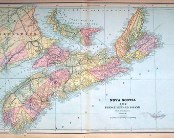 1892 Antique Map of Nova Scotia and Prince Edward Island, Canada - Nova Scotia Prince Edward Island Antique Map - Canada Antique Map - Large
