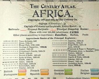 1911 Antique Map of Africa - Century Atlas Map