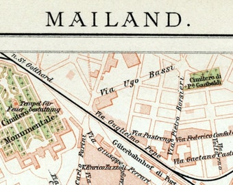 1902 Vintage Map of Milan, Italy - Vintage Milan Map - Old Milan Map