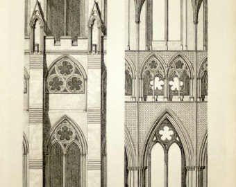 1845 Rare Large English Antique Print of British Architectural Gems. Westminster Abbey Church. North Side of the Nave. Plate 2.