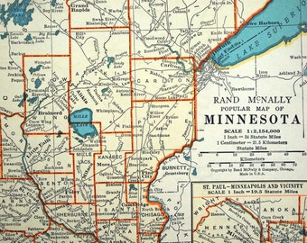 Vintage Map of Minnesota. Published 1937