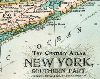 1902 Antique Map of the Southern Part of New York - New York Antique Map - Century Atlas - Antique New York Map
