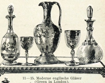 1895 Antique Engraving on Glass Art
