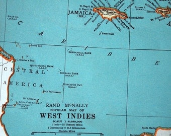 1937 Vintage Map of the West Indies - West Indies Vintage Map