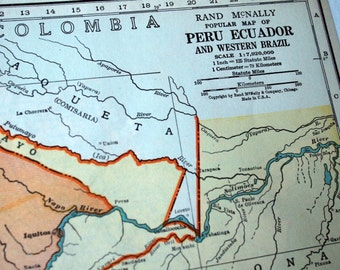 1937 Vintage Map of Peru, Ecuador, and Western Brazil - Peru Ecuador Brazil Vintage Map