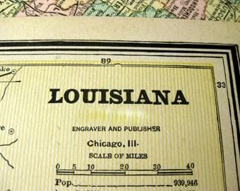 1888 Vintage Map of Louisiana - Antique Louisiana Map - Old Map of Louisiana