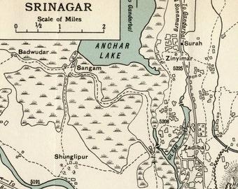 1952 Vintage Map of Srinagar, India - Vintage City Map