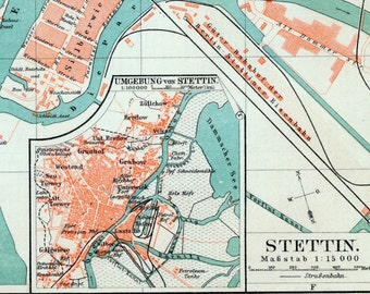 1895 Vintage Map of Szczecin or Stettin, Poland - Vintage City Map - Old City Map