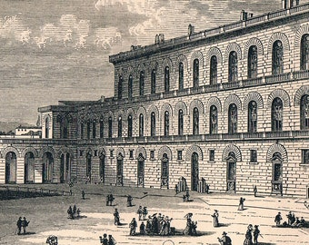 Antique Print of the Palazzo Pitti - Pitti Palace - Florence - 1876 Engraving