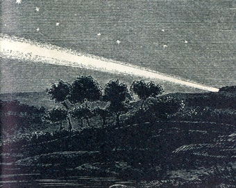 Antique Print of Comets - 1892 Antique Astronomy Print