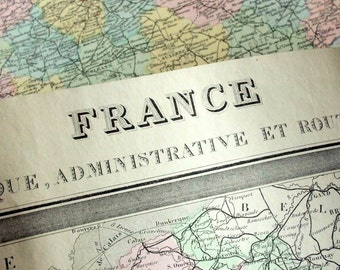 1883 Antique Map of France - France Antique Map - Large - Hand Coloured - Double Page