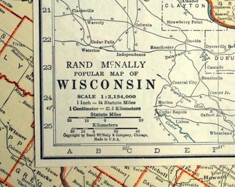 1937 Antique Map of Wisconsin