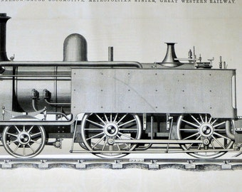 1869 Very Rare Poster Size English Antique Engraving of Locomotives / Trains, The Great Western Railway