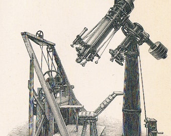 1895 German Back-to-Back Engraving of Telescopes