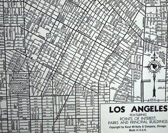 1944 Vintage Map of Los Angeles, California. Featuring Points of Interest, Parks and Principal Buildings - Vintage City Map - Old City Map
