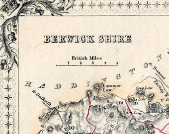 1862 Antique Map of Berwick Shire, Scotland - Scotland Antique Map - Antique Scotland Map - Handcolored - Rare map
