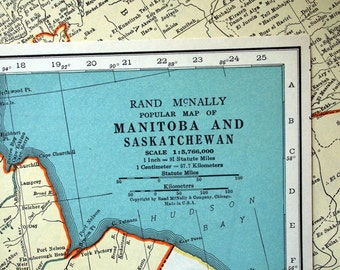 1937 Vintage Map of Manitoba and Saskatchewan, Canada - Canada Vintage Map