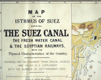 1869 Antique Map of the Suez Canal and Egyptian Railways - Very Rare - Poster-Sized - Chromolithographed - Suez Canal Antique Map