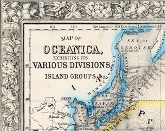 1864 Antique Map of Australia and Oceania - Historical Map - Mitchell Map - Handcolored