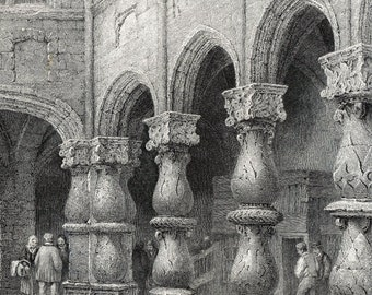 Antique Print of Liege, Belgium - Courtyard of the Archbishop's Palace - 1880 Fine Antique Steel Engraving
