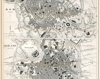 1851 German Vintage Map of Rome and Milan, Italy - Vintage City Map - Old City Map