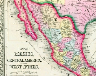 1864 Antique Map of Mexico - Central America Map - West Indies, Jamaica, Bermuda - Historical Map - Mitchell Map - Handcolored map