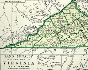 1943 Vintage Map of Virginia - Vintage Virginia Map - Blue and Emerald Green - Virginia Vintage Map