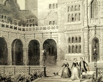 1846 Your Personal Downton Abbey Series. English Antique Wood Engraving of Holland House in Middlesex, England