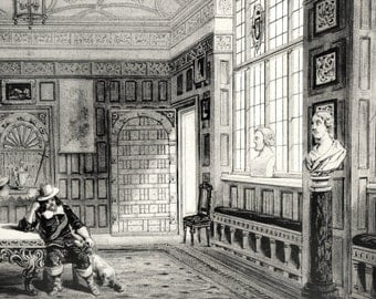 1847 Your Personal Downton Abbey Series. English Antique Wood Engraving of Ford House in Devonshire, England
