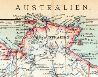 1893 German Antique Map of Australia