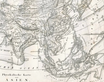 1860 German Vintage Map of Asia - Old Map of Asia - Black and White
