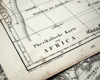 1851 German Vintage Map of Africa - Black and White - Physical Map of Africa