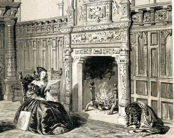 1846 Your Personal Downton Abbey Series. English Antique Wood Engraving of Crewe Hall in Cheshire, England
