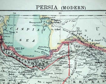 1890s Antique Map of Persia (Modern)