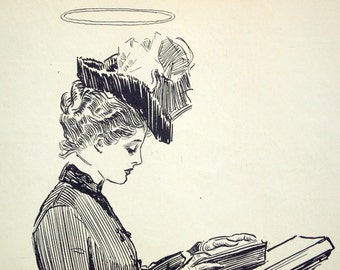 Gibson Girl - Woman with a Halo - Humorous 1906 Antique Charles Dana Gibson Print