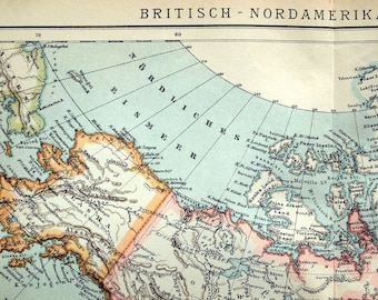 1894 Antique Map of Britain, North America, and Alaska - Britain North America Alaska Antique Map - German Map