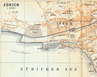 1897 Vintage Map of Zurich, Switzerland - Vintage City Map - Old City Map
