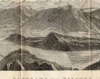 1891 Two-foot Long Antique Panorama from Mount Pilatus, Switzerland (Dragon not included) - Panoramic View