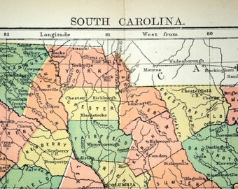 1890s Antique Map of South Carolina