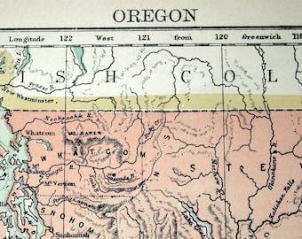 Antique Map of Oregon - 1884 Vintage Map