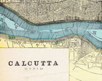 Antique Map of Calcutta, India - 1892 Vintage Map - City Map