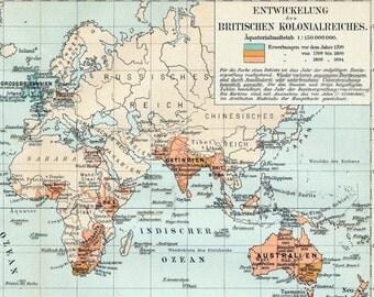1895 German Antique Map of British Colonies