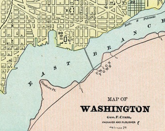 1891 Antique City Map of Washington, DC