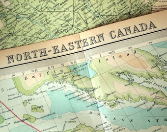 1922 Large Antique Map of Northeastern Canada