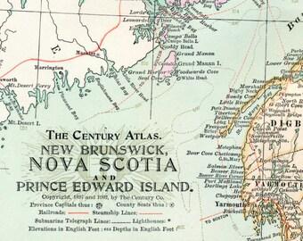 1902 Antique Map of New Brunswick, Nova Scotia, and Prince Edward Island, Canada - Canada Antique Map - Century Atlas