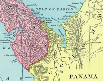 1906 Antique Map of Panama and the Panama Canal - Panama Antique Map - Antique Panama Map