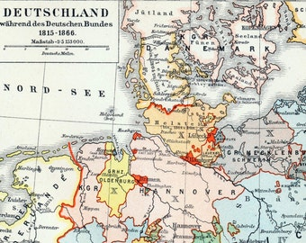 1895 German Vintage Map of Germany during the German Confederation, 1815-1866 - Historical Map - Vintage Germany Map