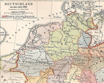 Antique Map of Germany in the Year 1000 - 1895 Historical Map - OId Germany Map