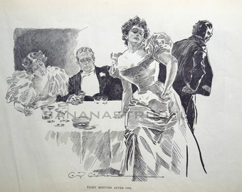 Gibson Girl - After the Party - Humorous 1906 Antique Charles Dana Gibson Print